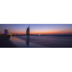 Sunset over the Burj Al Arab tower in Dubai